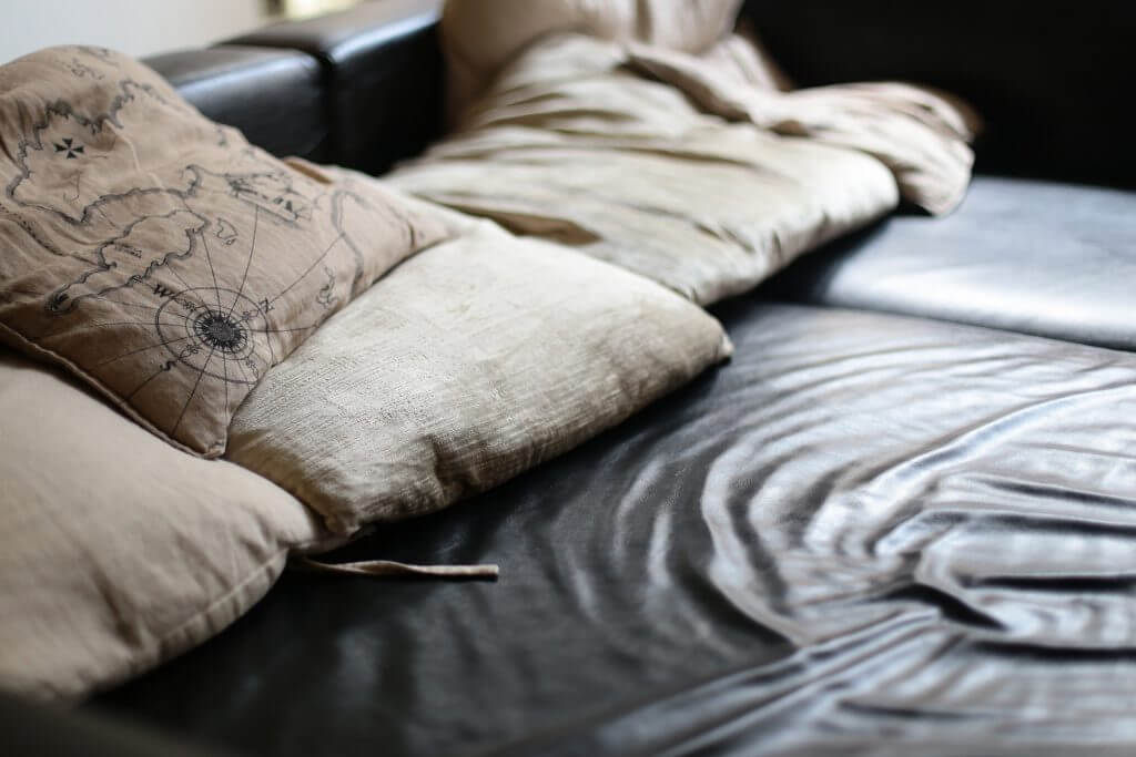 Make sure to thoroughly clean your leather furniture prior to storing to prevent issues with mold and mildew.